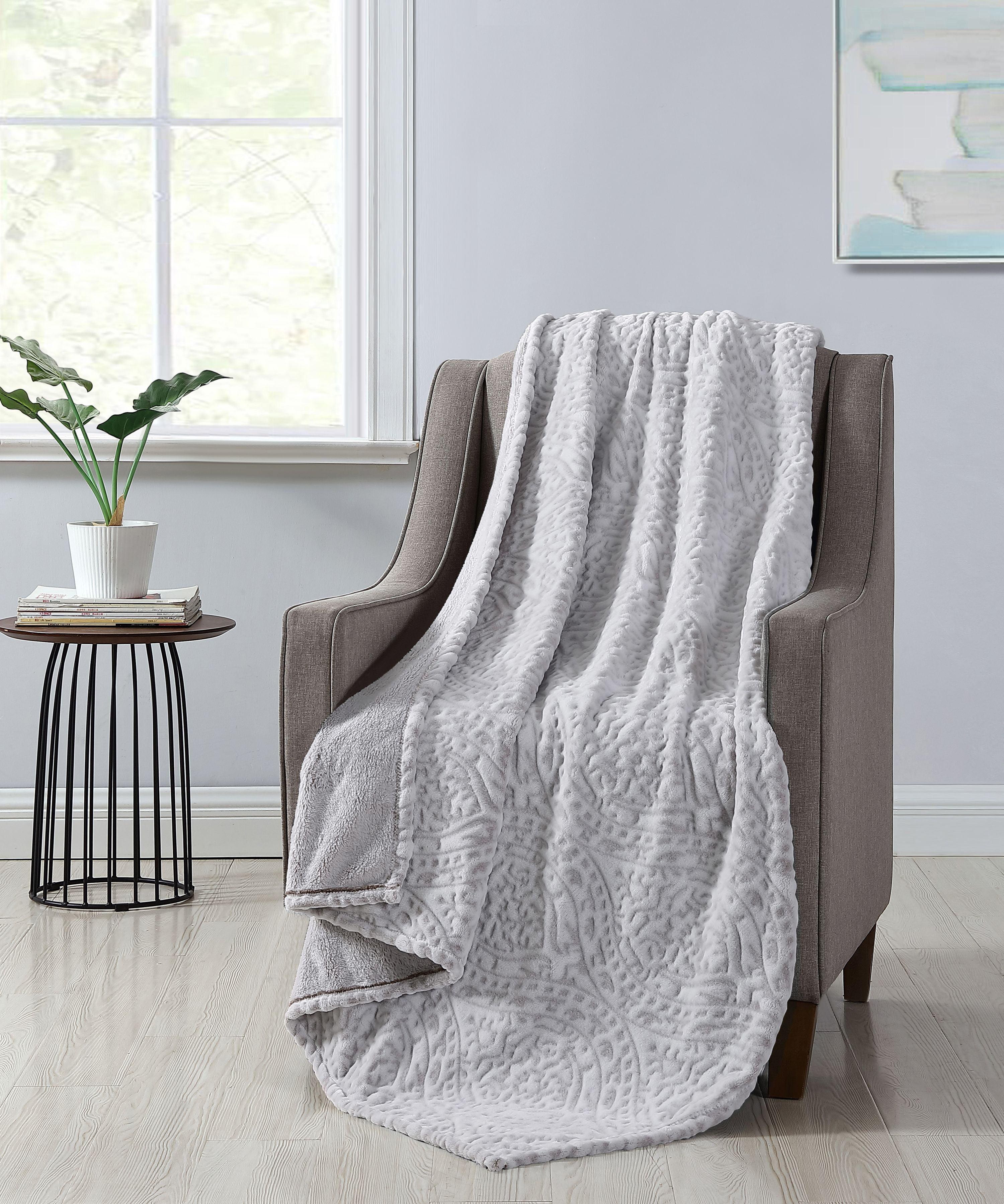 Better Homes & Gardens Ivory Damask Velvet Plush Throw Blanket, 50 x 60, Ivory