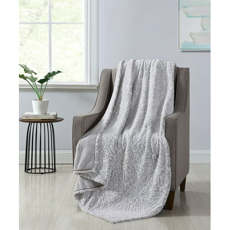 Better Homes & Gardens Ivory Damask Velvet Plush Throw Blanket, 50 x 60, Ivory