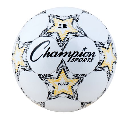 Champion Sports Viper Soccer Ball, Size 3, Black, White and Yellow - Soccer Ball Glow In The Dark
