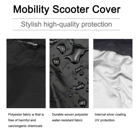 WALFRONT Elderly Mobility Scooter Cover, Waterproof Rain Protection Wheelchair Professional Storage Cover (Black) - image 8 of 9
