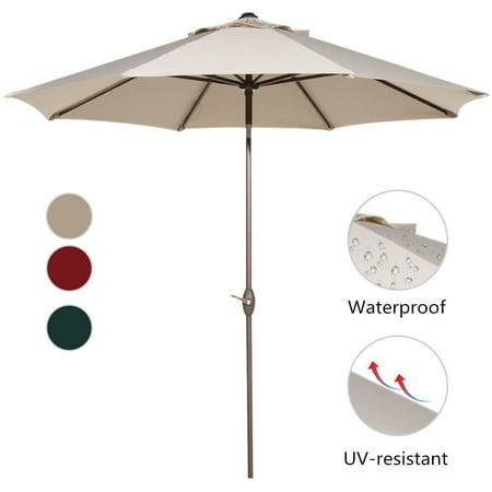 Abba Patio 11' Market Push Button Tilt and Crank Patio Umbrella, Multiple Colors 11' Auto Tilt Umbrella