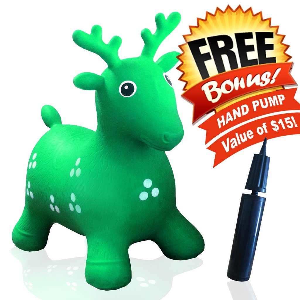 59084e8e610 ToysOpoly Inflatable Green Deer Bouncer - Cutest Ride - on Bouncy Animal  Hopper for Kids with Eco-Friendly Rubber (Green) - Walmart.com