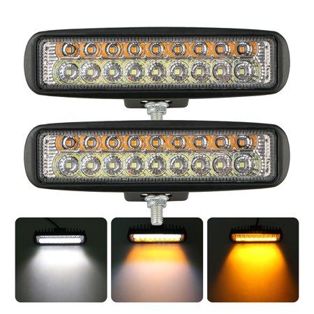 Color Lcd Backup - 2-pack Dual Color 120W Car Off-Road Led Work Light Bar Backup 6000K Fog Light