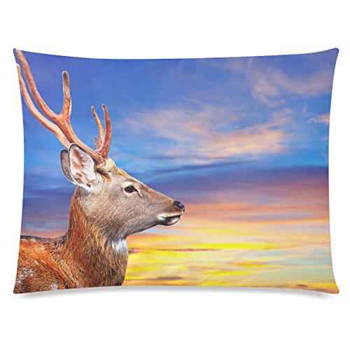 ZKGK Animal Deer Sunset Home Decor, Colorful Cloud Pillowcase 20 x 30 Inches Two Side,Soft... by ZKGK
