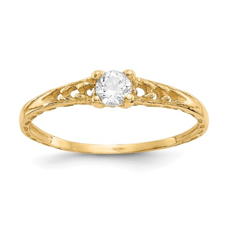 14kt Yellow Gold 3mm White Topaz Birthstone Baby Band Ring Size 3.00 April Fine Jewelry Ideal Gifts For Women Gift Set From Heart