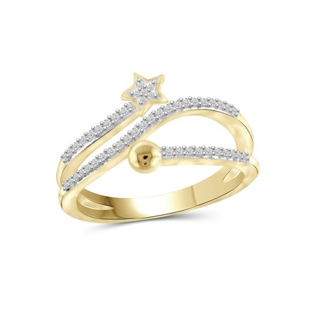 1/4 Carat T.W. White Diamond 14k Gold Over Silver Star Stackable Ring