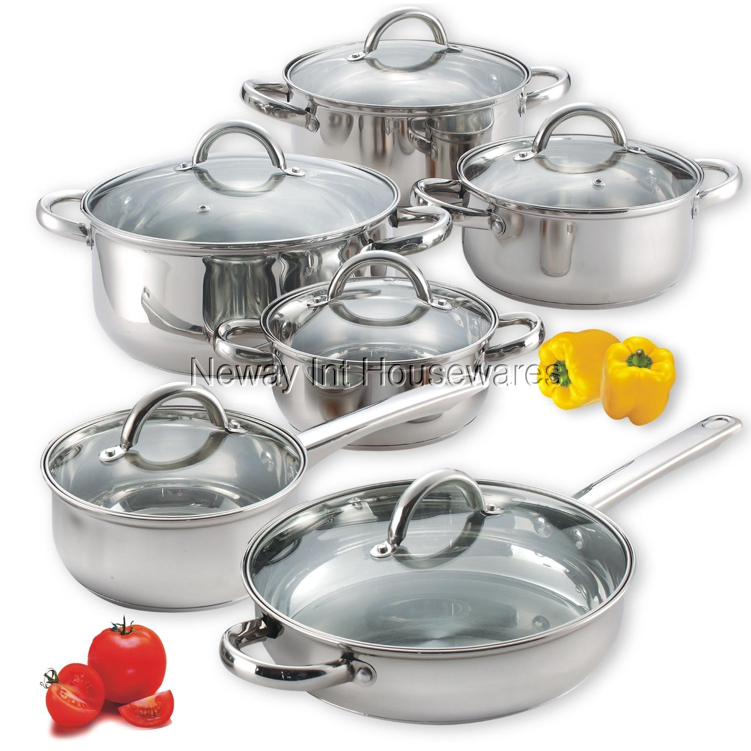 Cook N Home 12-Piece Stainless Steel Cookware Set - Walmart.com