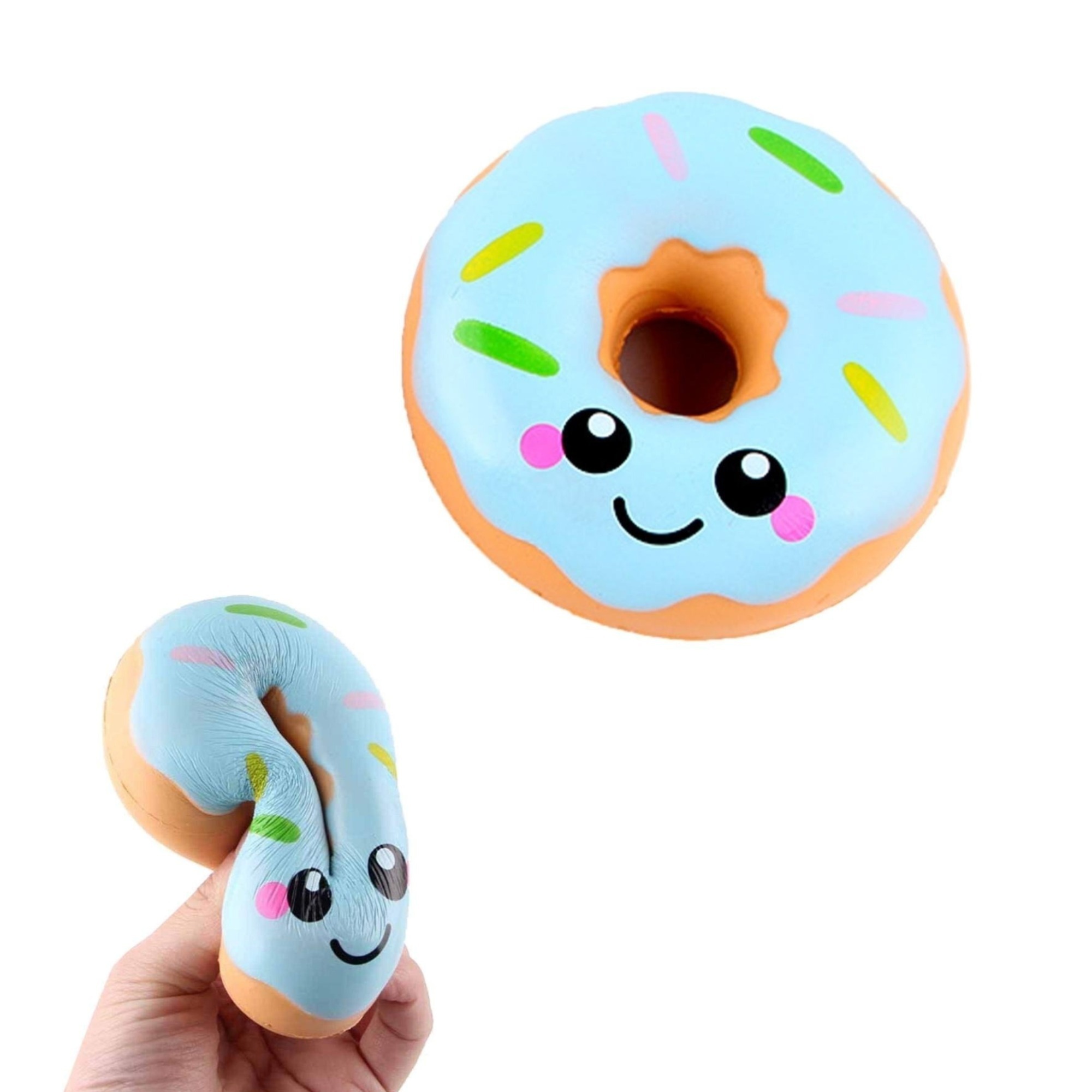 1 pc Squishy Blue Donut, Birthday Party Favor, Squishies, Stress Squeeze Toy
