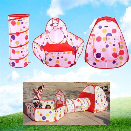 Qiilu 3Pcs/Set Children Baby Play House Tent with Tunnel and Ball Pit Pop Up Kids Tent Indoor Outdoor Toys for Boys, Girls, Babies, Toddlers & Pets Kids Ages 2 to - Toddler Girl Toms