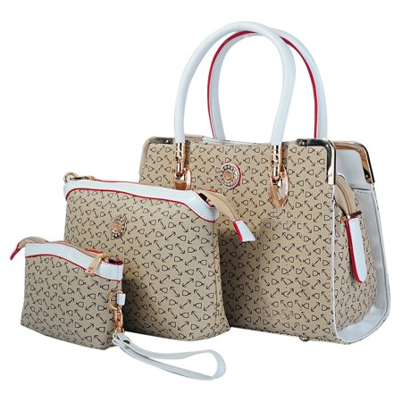 3 Piece Womens Tote Bag Pu Leather Handbag Purse Deluxe Bags Set