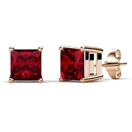 14k Yellow Gold Princess 4 Carat Ruby Stud Earrings
