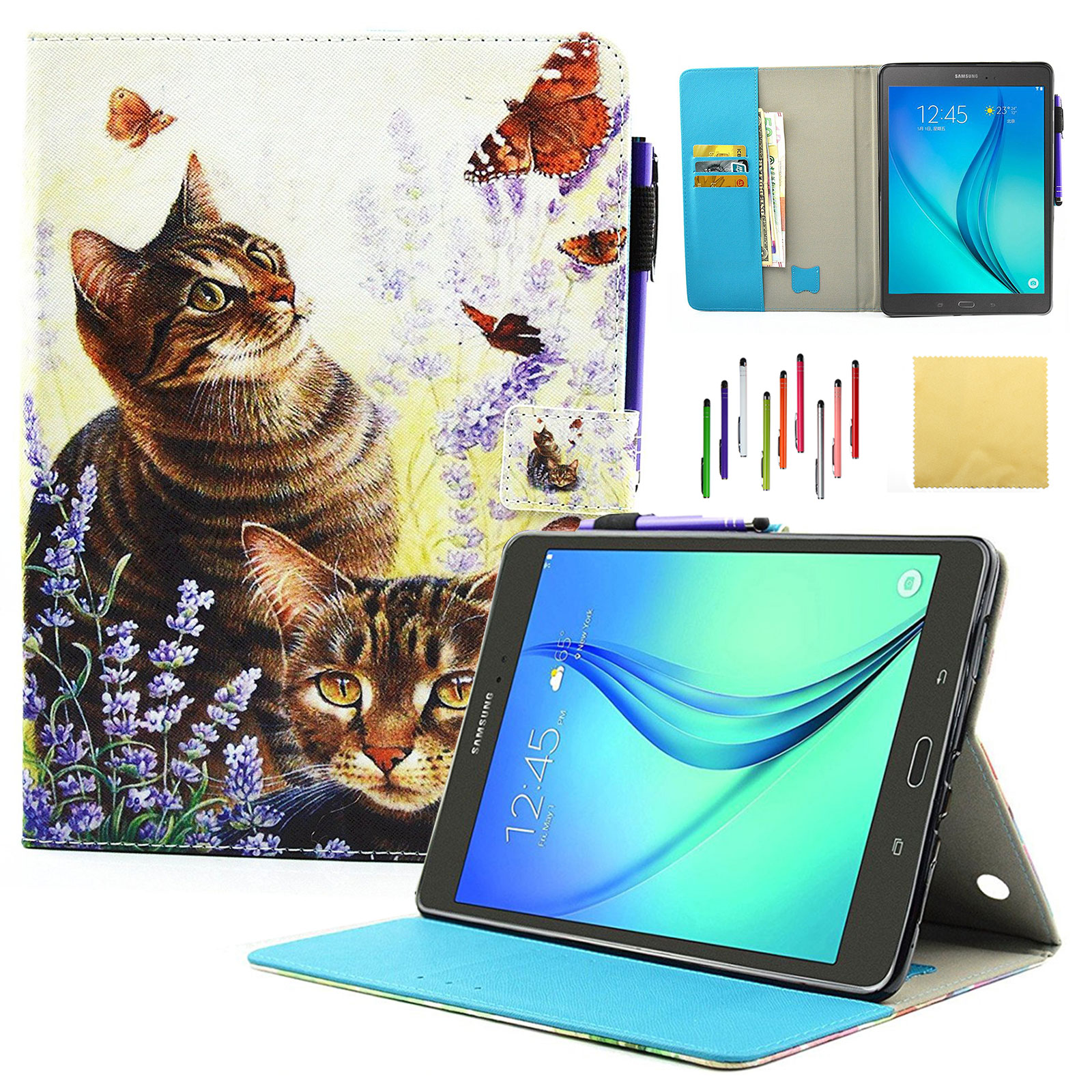 "Galaxy Tab A 9.7"" Case, SM-T550/SM-P550 Case, Goodest Smart PU Leather Folio Stand Cover with Auto Wake/Sleep Wallet Case for Samsung Galaxy Tab A 9.7-inch Tablet with S Pen, Cat and Butterfly"
