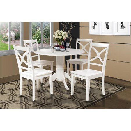 M&D Furniture BURL5-WHI-W Burlington 5 Piece small kitchen table set-kitchen table and 4 dining chairs in White finish ()
