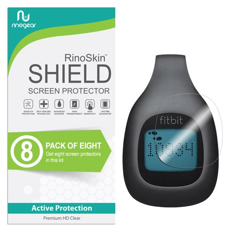 (8-Pack) Fitbit Zip Screen Protector Full Coverage RinoGear Flexible HD Crystal Clear Anti-Bubble Unlimited Replacement Film