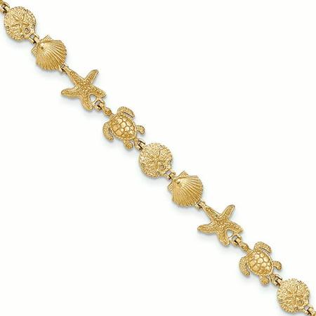 "14K Yellow Gold Turtle, Sand Dollar, Seashell and Starfish Bracelet, 7.25"""