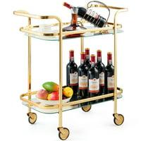 Gymax 2 Tier Serving Cart Rolling Kitchen Bar Cart w/Glass Shelves & Gold Metal Frame