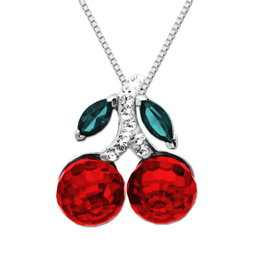 Luminesse Sterling Silver Red Cherries Pendant made with Swarovski Elements, 18""