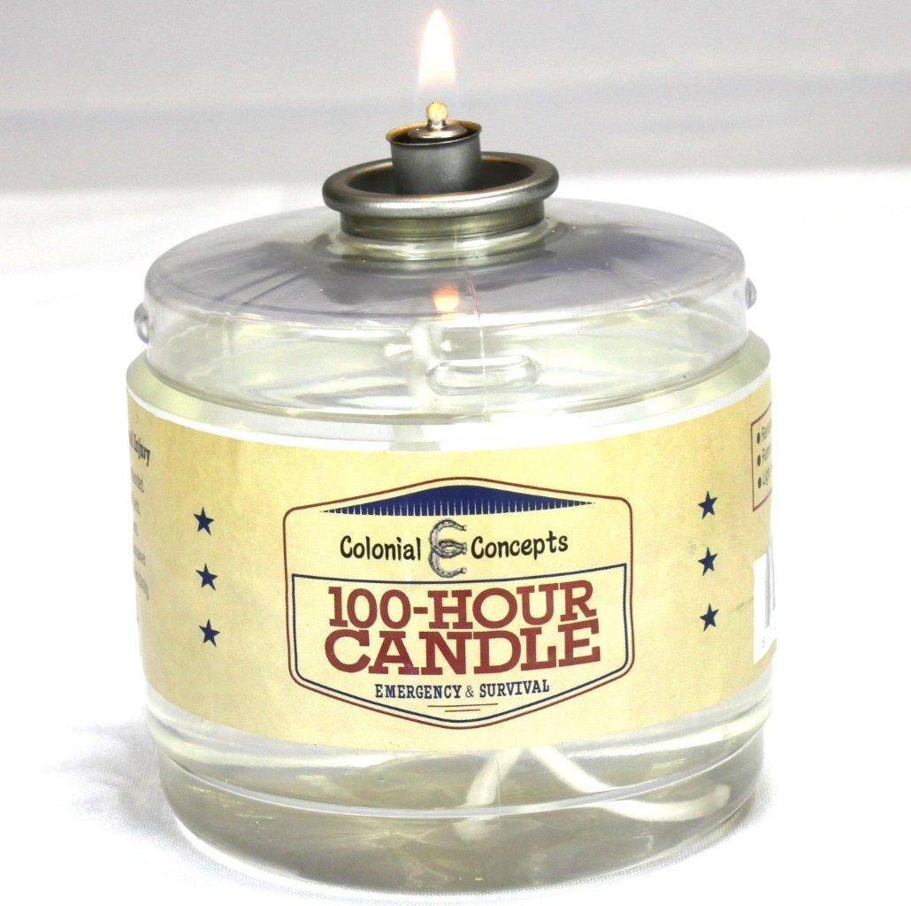 100 Hour Smokeless Liquid Paraffin Emergency Survival Candle by Colonial Concept by