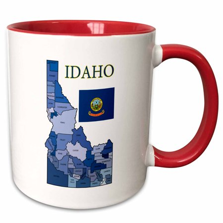 3dRose Colorful county map of Idaho with flag and all counties labeled - Two Tone Red Mug, 11-ounce