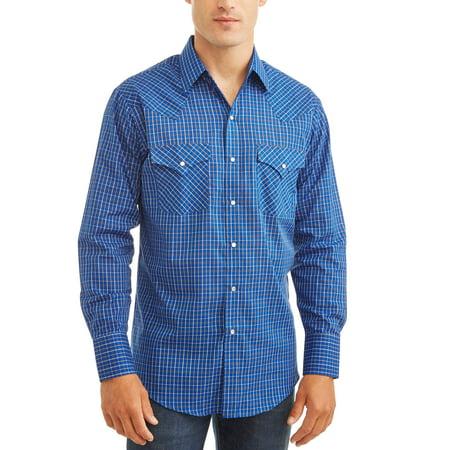 Front Check - Men's Long Sleeve Western Check Shirt