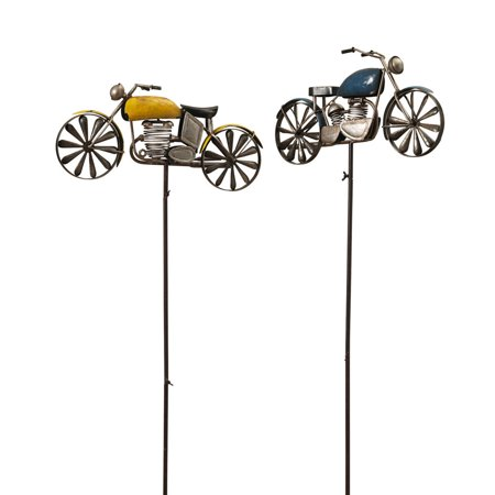 Set of 2 Yellow and Blue Rustic Finished Motorcycle Spinner Yard Stakes