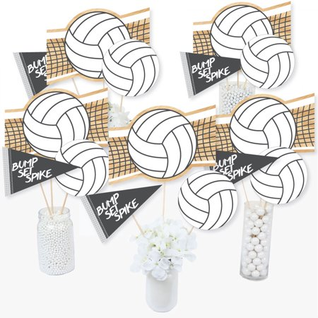 Bump, Set, Spike - Volleyball - Baby Shower or Birthday Party Centerpiece Sticks - Table Toppers - Set of 15 (Volleyball Centerpieces)