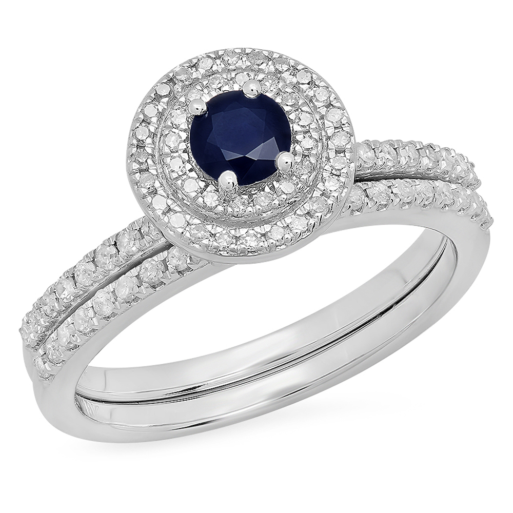 10K Gold Round Blue Sapphire And White Diamond Ladies Halo Style Bridal Engagement Ring by DazzlingRock