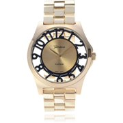 Women's Stainless Steel Skeleton Dial Link Fashion Watch, Black