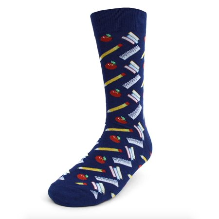 Urban Peacock Men's Novelty Fun Crew Socks for Dress or Casual - School Supplies - Navy