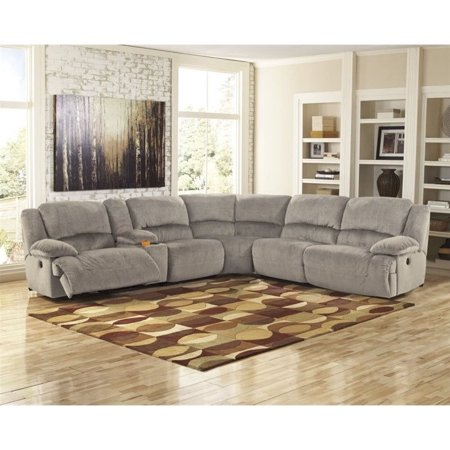 Ashley Toletta 6 Piece Corner Power Console Sectional in Granite