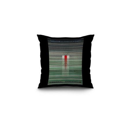 General Dynamics   Nuclear Fusion Vintage Poster  Artist  Nitsche  Switzerland C  1956  16X16 Spun Polyester Pillow  Black Border