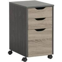 Homestar 3-Drawer Storage Cabinet, Java Mocha and Reclaimed Wood Finish