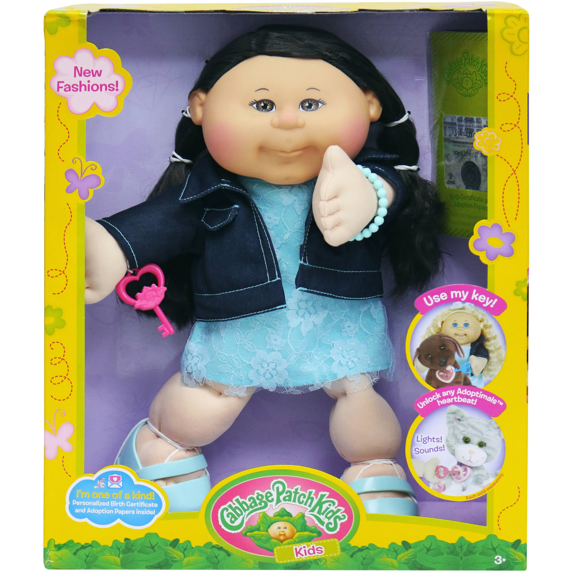 cabbage patch kids trendy doll, dark hair/brown eye girl - walmart