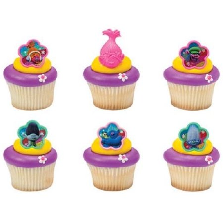 12 Troll Trolls Movie Cupcake Cake Rings Birthday Party Favors