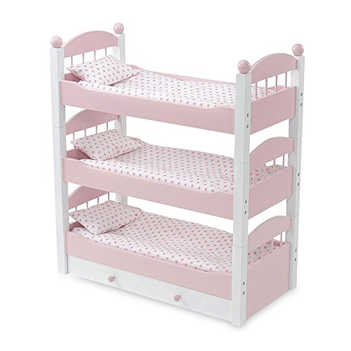 18 Inch Doll Furniture | Lovely Pink and White Stackable Triple Bunk Bed, Includes Trundle... by Emily Rose Doll Clothes