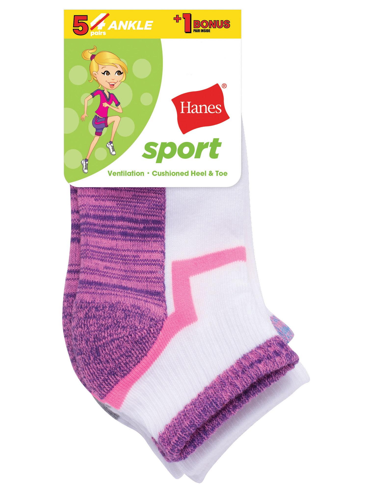 Hanes Sport Ankle Socks, 4 + 1 Bonus Pack (Little Girls & Big Girls)