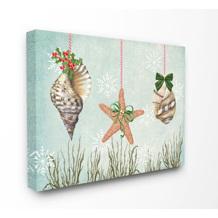 Ornament Wall Art - The Stupell Home Decor Collection Coastal Nautical Holiday Sea Shell Ornaments And Snowflakes Stretched Canvas Wall Art, 16 x 1.5 x 20