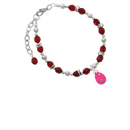 Hot Pink Easter Egg with Color Crystal Dots Maroon Beaded Bracelet