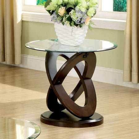 Furniture of America Tayah Contemporary Glass End Table, Dark (Glass Walnut End Table)