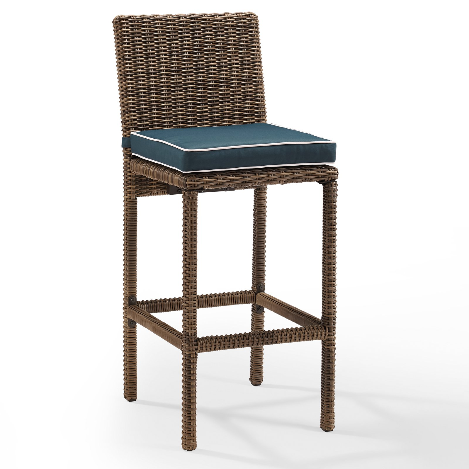 Crosley Furniture Bradenton Outdoor Wicker Bar Height Stools (Set of 2) with Navy Cushions