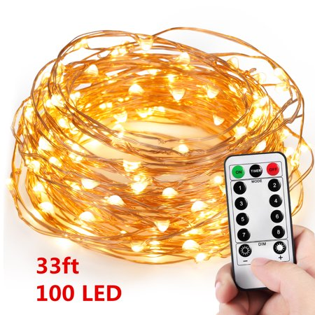 Grtxinshu 100 LEDs String Lights Warm White [33ft Long Flexible Copper Wire] Fairy Light Strand for Christmas Party Wedding Home (White Wire String Lights)