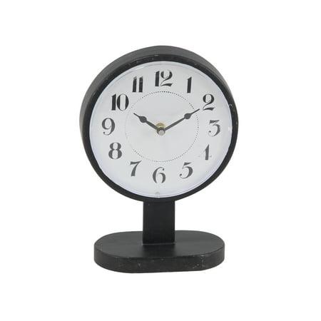 Decmode Modern 13 X 8 Inch Round Black Iron Table Clock ()
