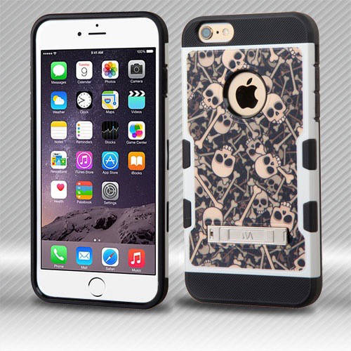 Apple iPhone 6 Plus/iPhone 6S Plus MyBat TUFF Trooper Hybrid Protector Cover with Stand, Skulls/Bones