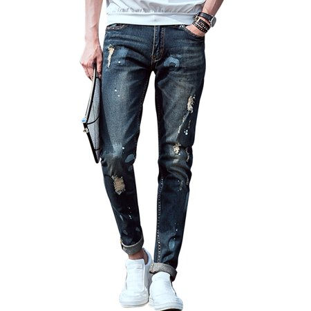 Men's Paint Spots Distressed Detail Belt Loop Casual Jeans Dark Blue W30