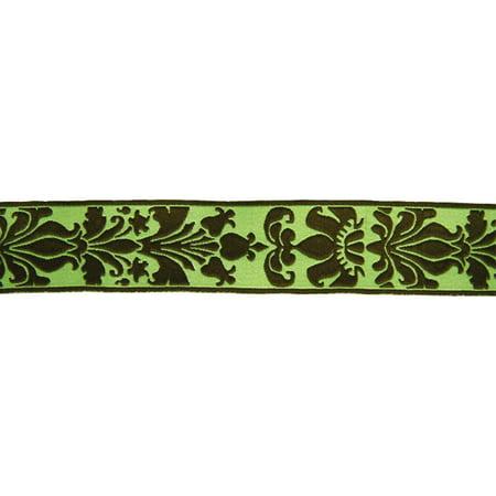 15/16 Inch Mint Chocolate Rose Royalty Woven Jacquard Braid Ribbon