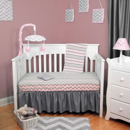 pink amp gray chevron 4 baby crib bedding set 87354
