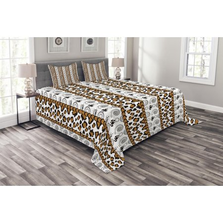 Zambia Bedspread Set, Cheetah Leopard Skin Pattern with Wildlife Featured Spirals Illustration, Decorative Quilted Coverlet Set with Pillow Shams Included, Amber Brown White, by Ambesonne ()