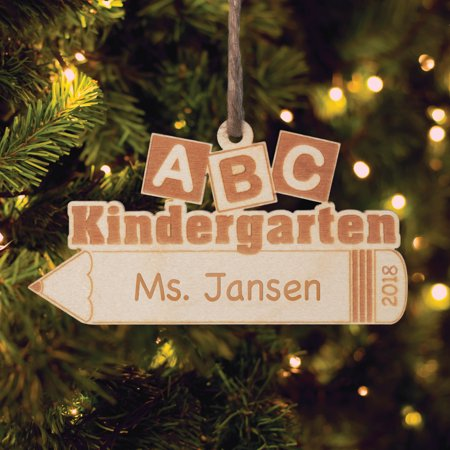 personalized wood teacher christmas ornament abc kindergarten teacher