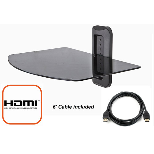 @.com Adjustable Shelf for DVD Player, Cable Box/Receiver and Gaming Consoles in Black with HDMI Cable