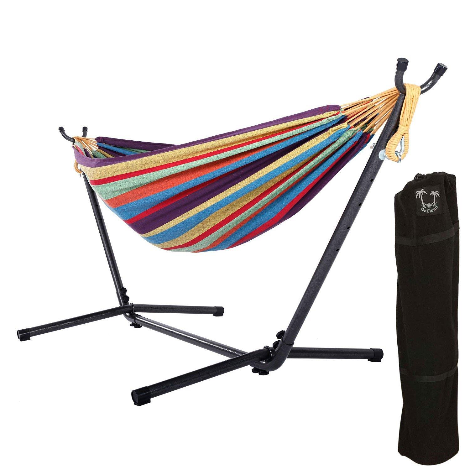 Ktaxon Double Hammock with Steel Stand and Portable Carrying Bag Included,Summer Outdoor Relax,Bear Up To 200Kg
